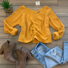 OLIVIA Off Shoulders Sweater (Mustard)