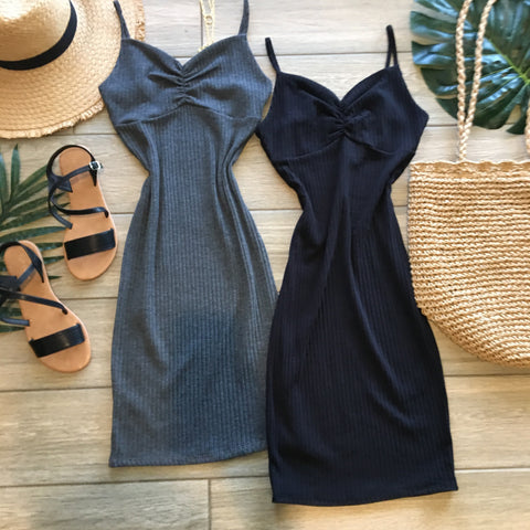 SAHARA Shirred Midi Dress (Grey & Black)