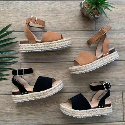 DANI Platform Sandals (Chestnut & Black)