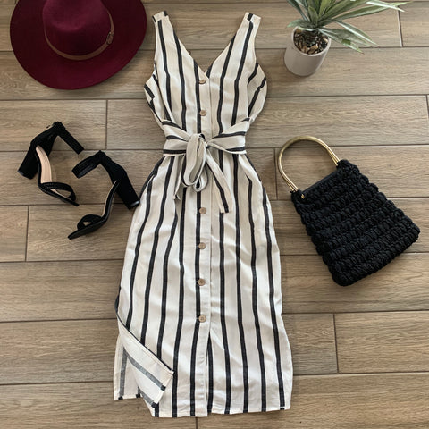 JASMINE Stripe Dress (Ivory)