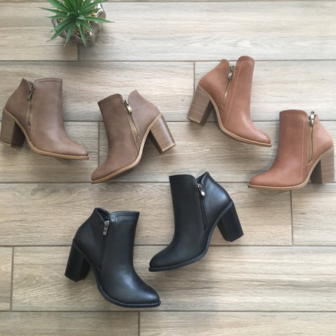 DAVIE Booties (Black, Tan, Khaki)