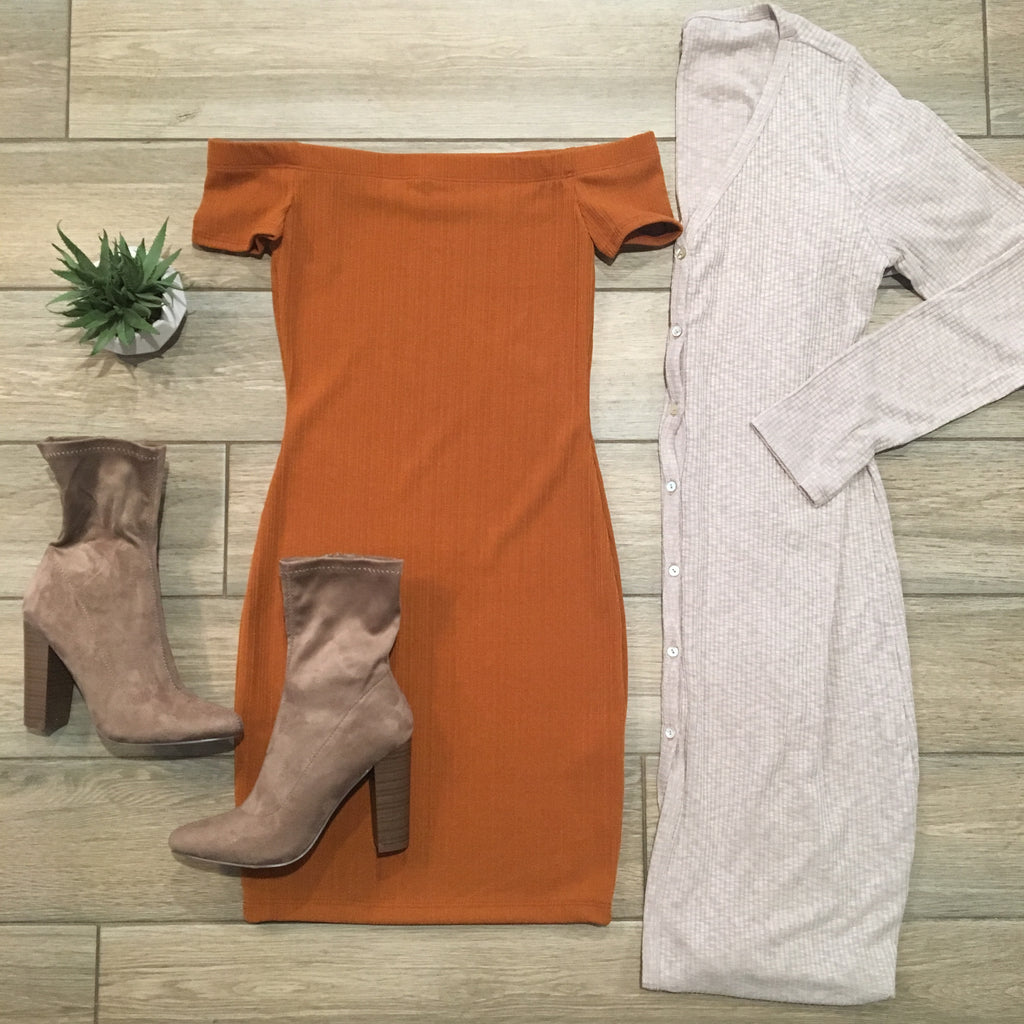 KENDALL Off Shoulder Dress (Rust)