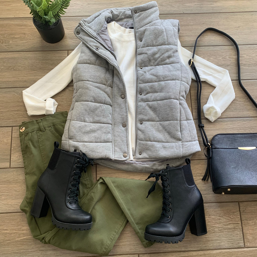 LAUREN Puff Vest (Grey)