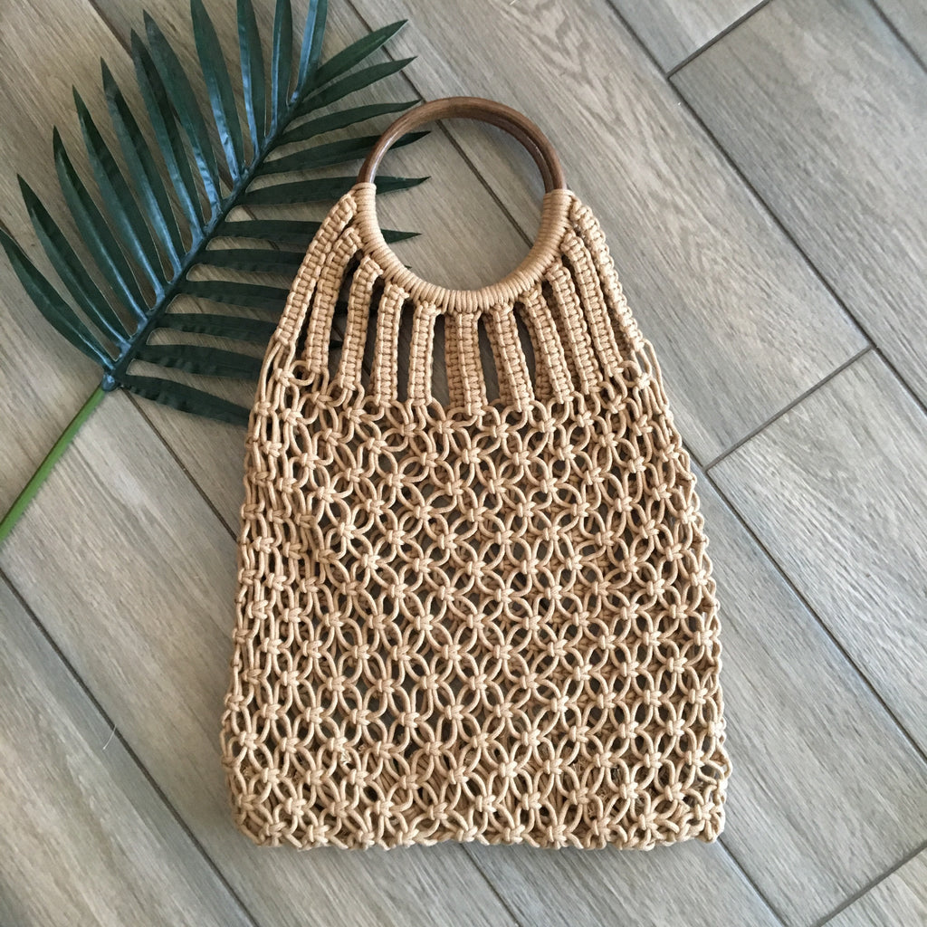 Woven Wood Handle Bag