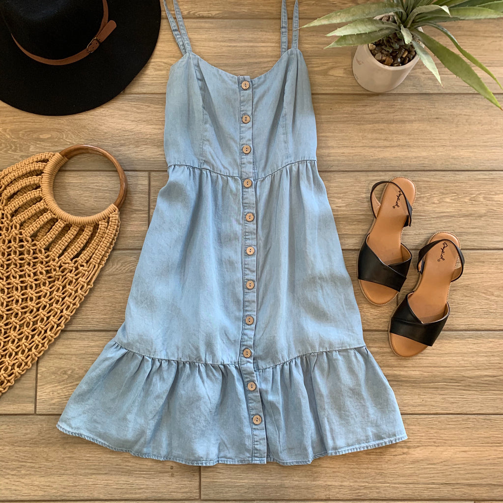 JOCELYN Denim Dress (Lt Blue) One LARGE Left