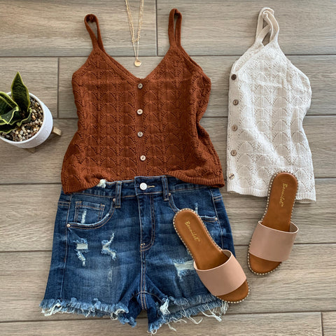 GINGER Knit Button Tanks (Cinnamon & Ivory)