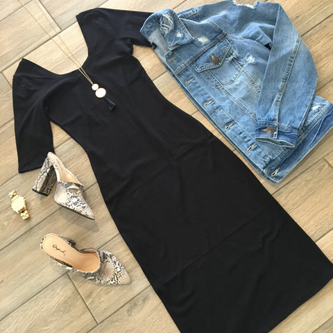 MEGAN Midi Dress (Black) size SMALL only