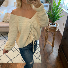OLIVIA Off Shoulders Sweater (Ivory)