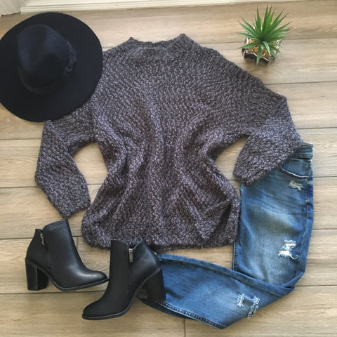 SOPHIA Fluffy Sweater (Grey)