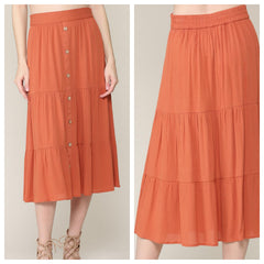 PERCI Button Skirt (Melon)