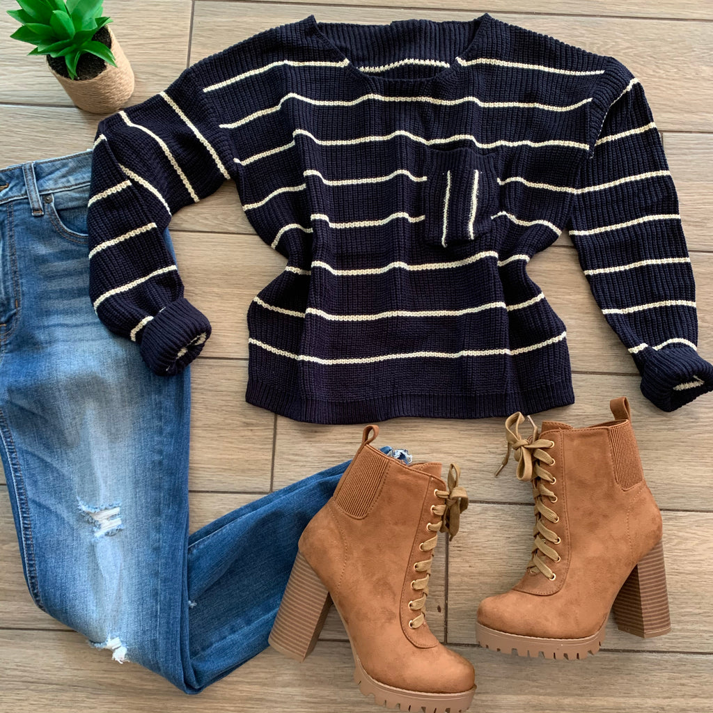 KRISTA Stripe Sweater (Navy/Wht) size LARGE Only