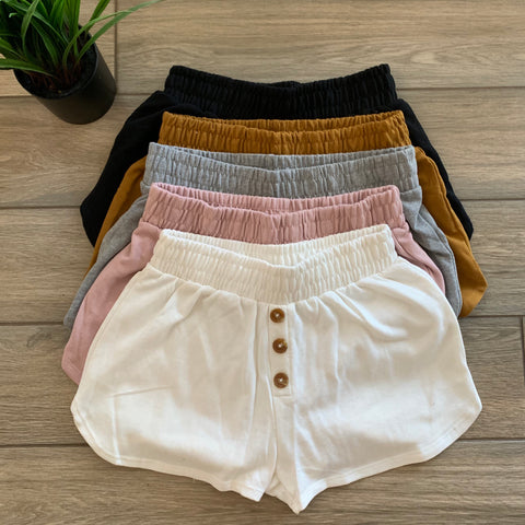 HANA Button Sweat Shorts (5 Colors)