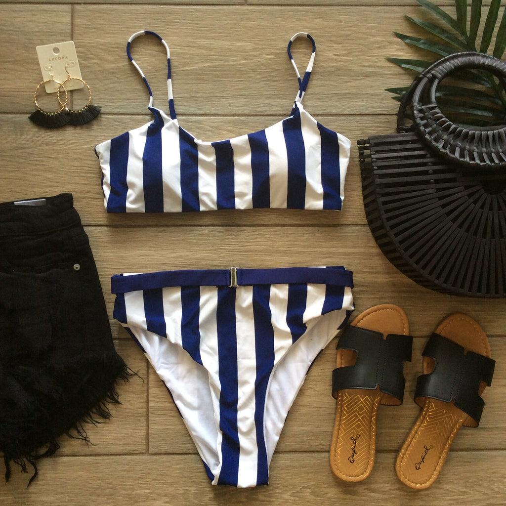 RAQUEL Stripe 2 Piece Bathing Suit