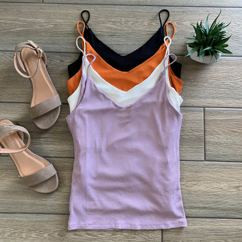 SONYA Ribbed Cami's (Black, Lavendar, Orange)