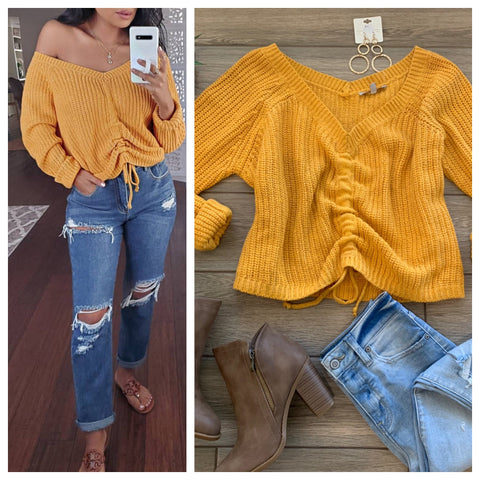 OLIVIA Off Shoulders Sweater (Mustard) size M/L Only