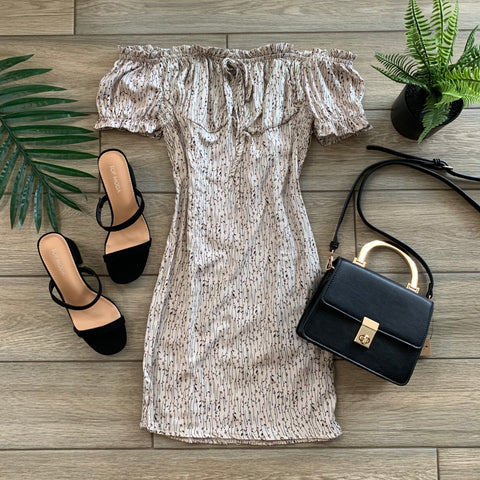 TESSA Floral Dress (Taupe)
