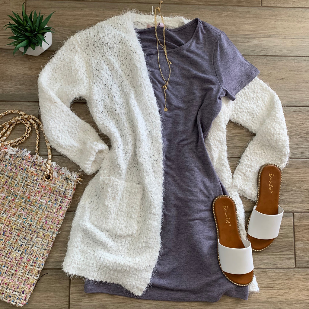 KATE Plush Cardigan (White)