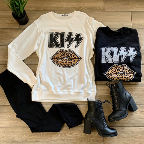 KATY LEOPARD Kiss Sweatshirt (White & Black)