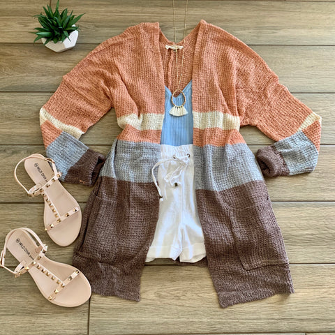 SHAYLA Stripe Cardigan (Blue-grey)