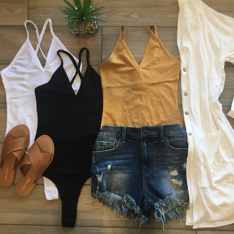 VERA Deep V Bodysuits WHITE Only