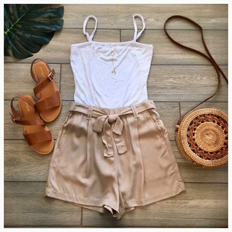 ZARA Tie Shorts (Khaki) LARGE Only