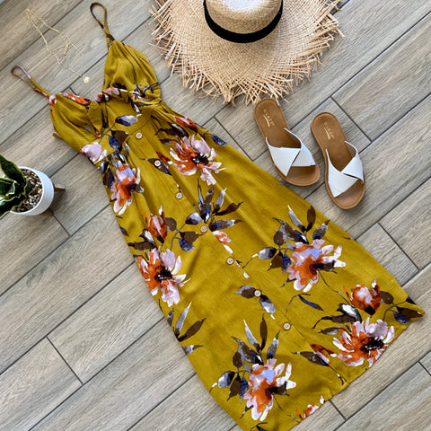 JADA Floral Maxi/Midi Dress (Mustard Green)