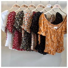 SHERRY Shirred Top (Red Floral) SMALL Only