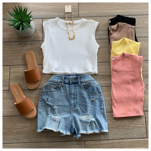 CADY crop muscle Tees (White, Black, Taupe, Dk peach, Yellow