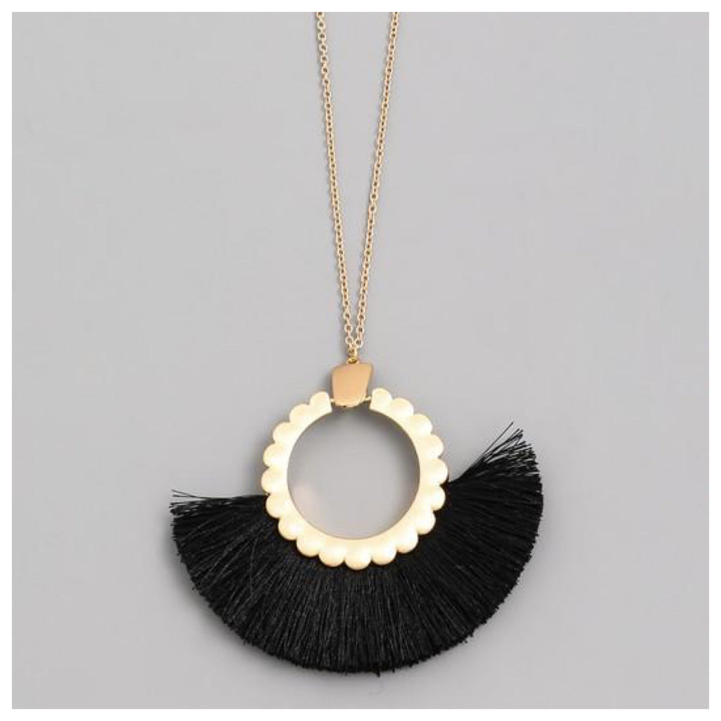 Gold with Black Tassel necklace