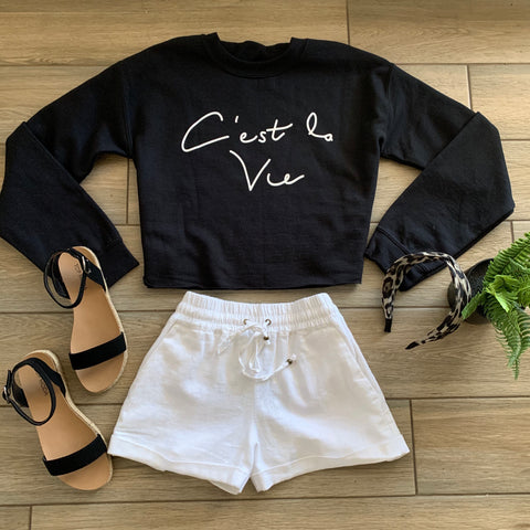 C' EST La Vie Crop Sweatshirt (Black) Size LARGE Only