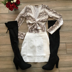 JOENA Snakeskin Long Sleeve Bodysuit