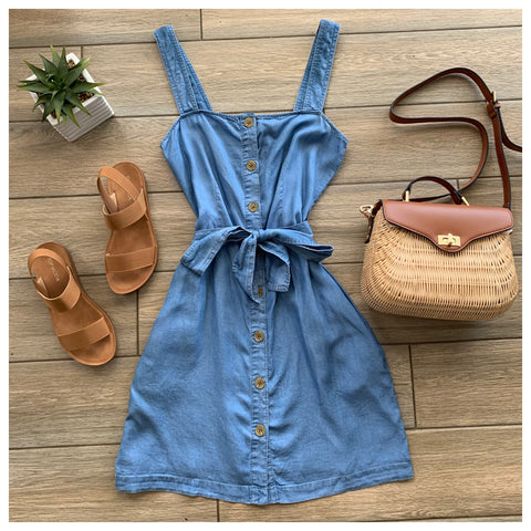 STACY Chambray Pocket Tie Dress