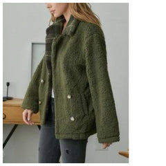 XANDRIA Plaid collar Sherpa Jacket (Olive)