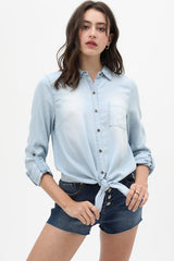 KARDY Denim Tie Top (Lt BLue) SMALL Only
