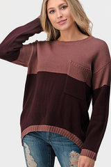 VANESSA Stripe Sweater (Wine/Rust)