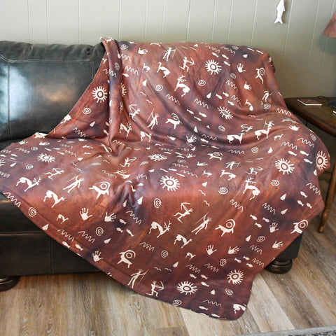 Primitive Press in Brown - Sherpa Fleece Blanket
