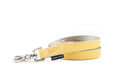 BESPOKE | Buttercup Herringbone Luxury Linen Dog Leash Danes & Divas