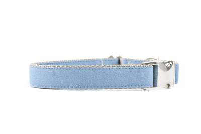 BESPOKE | Light Blue Luxury Linen Dog Collar Danes & Divas