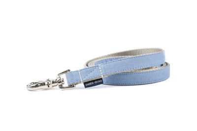 BESPOKE | Light Blue Luxury Linen Dog Leash Danes & Divas