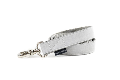 BESPOKE | Light Grey Chambray Linen Dog Leash Danes & Divas
