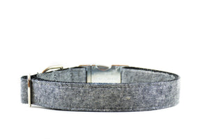 Black Chambray Linen Dog Collar Danes & Divas