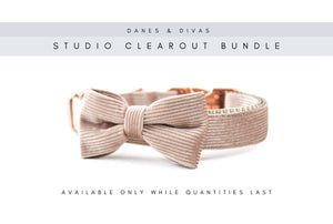 BUNDLE | Bespoke Dusty Rose Velvet Corduroy Collar & Bow - Large Danes & Divas®
