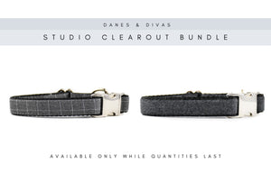 BUNDLE | Bespoke Graph Check Plaid & Charcoal Faux Felted Wool Collars - Medium Danes & Divas®