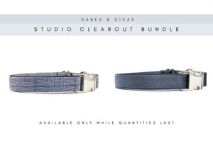 BUNDLE | Navy Glen Plaid & Midnight Velvet Corduroy Collars - Large Danes & Divas®