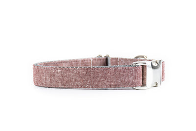 Burgundy Chambray Linen Dog Collar Danes & Divas