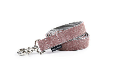 Burgundy Chambray Linen Dog Leash Danes & Divas
