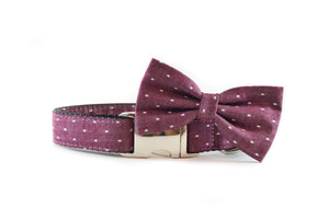 Burgundy Swiss Dots Dog Collar Danes & Divas