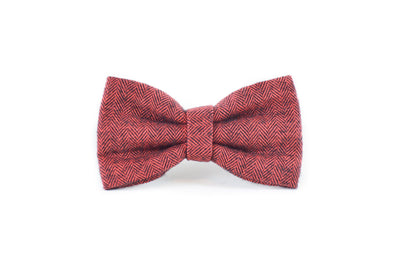 Classic Red Herringbone Flannel Dog Bow Tie Danes & Divas