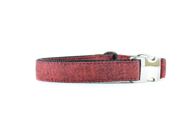 Classic Red Herringbone Flannel Dog Collar Danes & Divas
