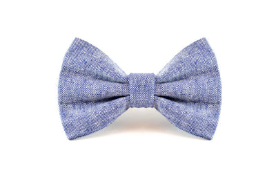 Denim Blue Linen Dog Bow Tie Danes & Divas